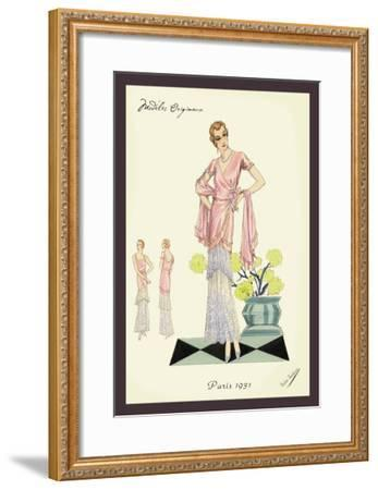 Party Dress in Pink and Blue--Framed Art Print