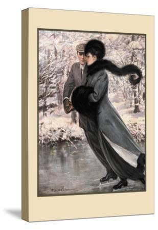 Winter's Date-Clarence F^ Underwood-Stretched Canvas Print