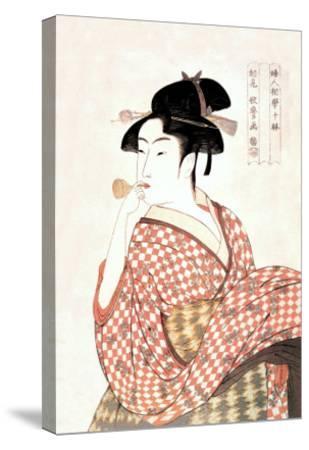 Woman Playing a Poppin-Kitagawa Utamaro-Stretched Canvas Print