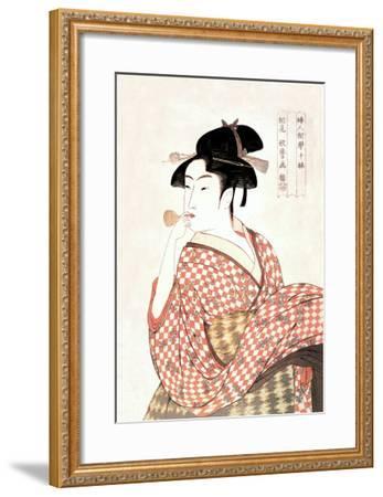 Woman Playing a Poppin-Kitagawa Utamaro-Framed Art Print