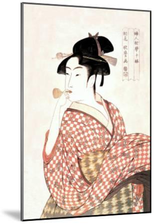 Woman Playing a Poppin-Kitagawa Utamaro-Mounted Art Print