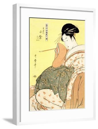 Reigning Beauties: Leisure Time-Kitagawa Utamaro-Framed Art Print