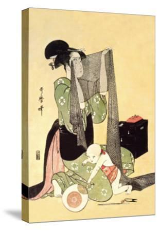 Japanese Mother and Child-Kitagawa Utamaro-Stretched Canvas Print