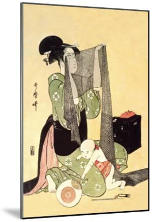 Japanese Mother and Child-Kitagawa Utamaro-Mounted Art Print