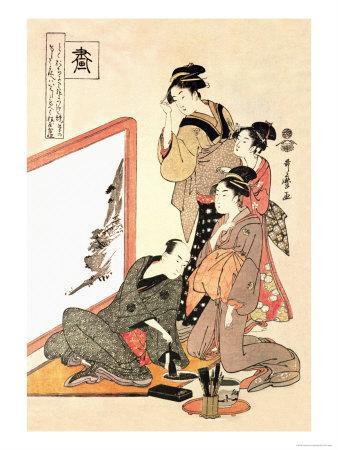Painting at Home-Kitagawa Utamaro-Framed Art Print