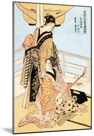Two Musicians-Kitagawa Utamaro-Mounted Art Print