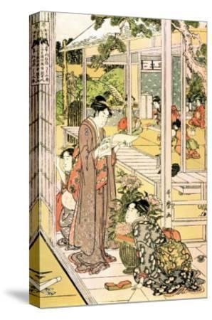 Domestic Scene-Kitagawa Utamaro-Stretched Canvas Print