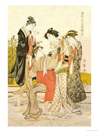 Four Women-Kitagawa Utamaro-Stretched Canvas Print