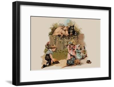 Curious Pigs--Framed Art Print