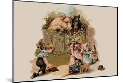 Curious Pigs--Mounted Art Print