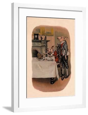 Dinner Pig--Framed Art Print