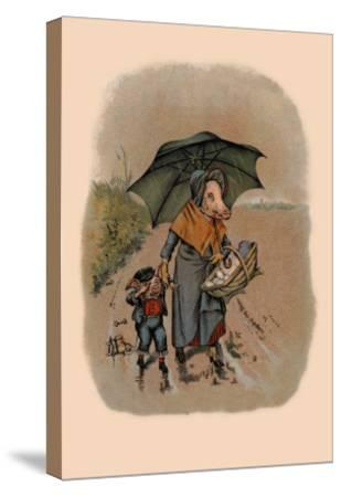 Mother Pig and Sad Little Pig Walking in the Rain-A. Gual-Stretched Canvas Print