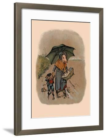 Mother Pig and Sad Little Pig Walking in the Rain-A. Gual-Framed Art Print