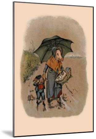 Mother Pig and Sad Little Pig Walking in the Rain-A. Gual-Mounted Art Print
