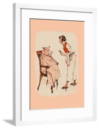 Shaving the Pig--Framed Art Print
