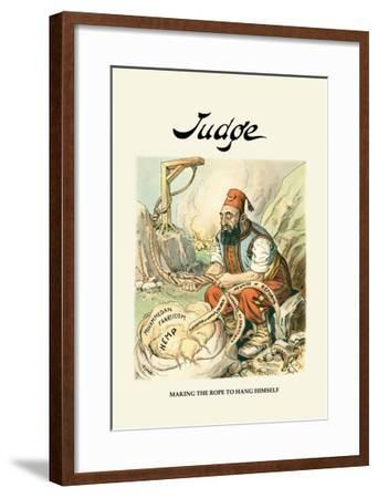 Judge: Making the Rope to Hang Himself--Framed Art Print