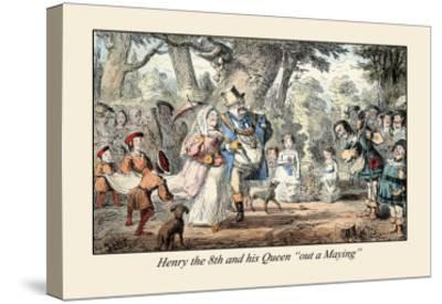 Henry VIII and His Queen Out A'maying-John Leech-Stretched Canvas Print
