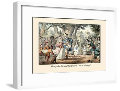 Henry VIII and His Queen Out A'maying-John Leech-Framed Art Print