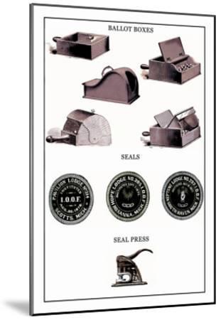 Odd Fellows: Ballot Boxes, Seals, Seal Press--Mounted Art Print