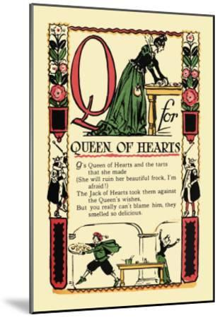Q for Queen of Hearts-Tony Sarge-Mounted Art Print