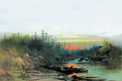 Indian Camp-Albert Bierstadt-Stretched Canvas Print