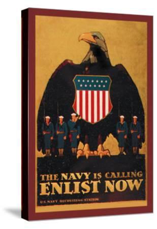 The Navy is Calling: Enlist Now-Britton-Stretched Canvas Print