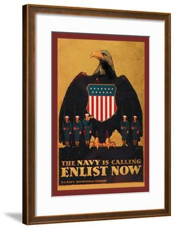 The Navy is Calling: Enlist Now-Britton-Framed Art Print