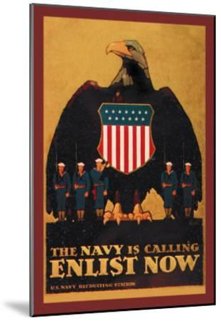 The Navy is Calling: Enlist Now-Britton-Mounted Art Print