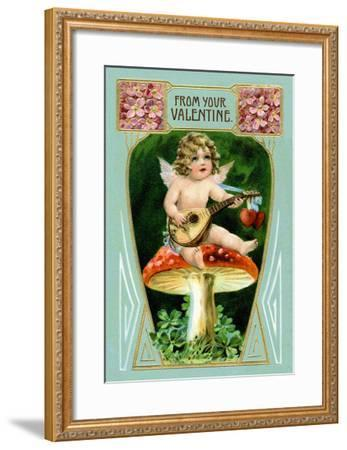 Angel with Mandolin and Mushrooms--Framed Art Print