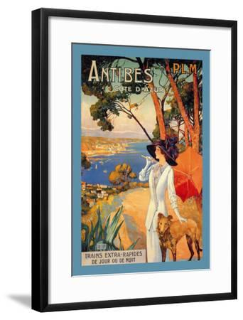 Antibes, Lady in White with Parasol and Dog-David Dellepiane-Framed Art Print