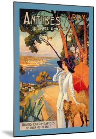 Antibes, Lady in White with Parasol and Dog-David Dellepiane-Mounted Art Print