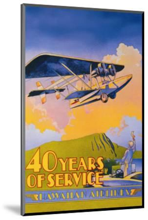 Hawaiian Airlines, 40 Years of Service-C^e^ White-Mounted Art Print