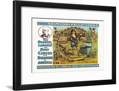 Uno, Queen Supreme of the Serpent Kingdom: The Original Adam Forepaugh Shows--Framed Art Print