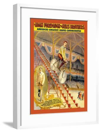 Upon an Ordinary Bicycle, A Sheer Descent: Adam Forepaugh and Sells Brothers--Framed Art Print