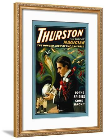 Thurston the Great Magician: Do the Spirits Come Back?--Framed Art Print