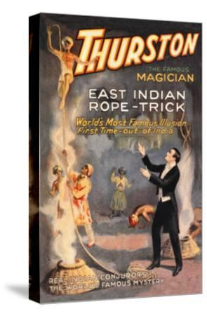East Indian Rope Trick: Thurston the Famous Magician--Stretched Canvas Print
