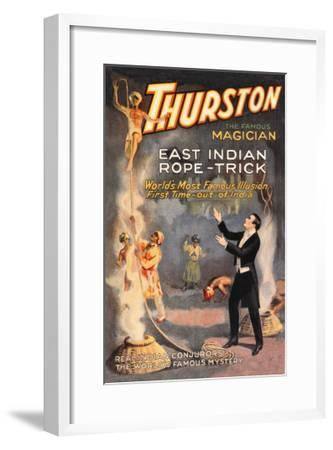 East Indian Rope Trick: Thurston the Famous Magician--Framed Art Print