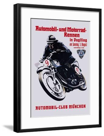 Automobile and Motorcycle Race, Munich--Framed Art Print