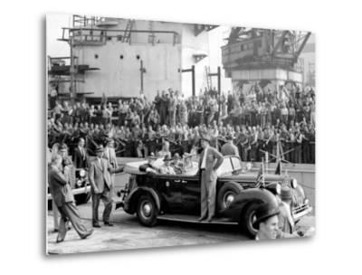 Roosevelt at the Naval Shipyards, Philadelphia, Pennsylvania--Metal Print