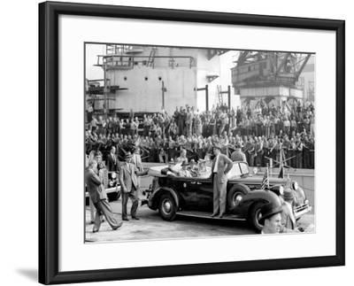 Roosevelt at the Naval Shipyards, Philadelphia, Pennsylvania--Framed Photo