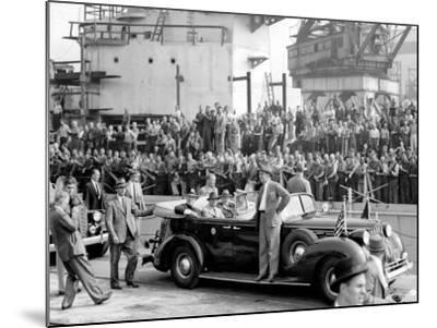 Roosevelt at the Naval Shipyards, Philadelphia, Pennsylvania--Mounted Photo