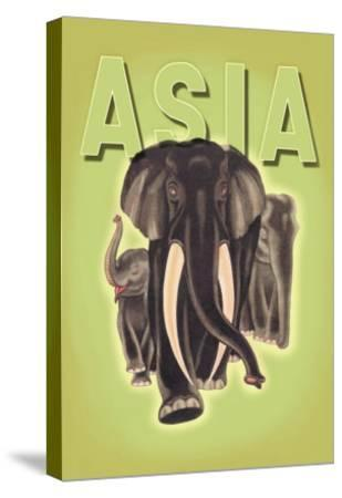 Indian Elephants-Robert Harrer-Stretched Canvas Print