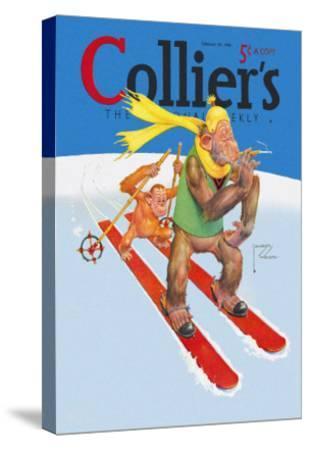 Skiing Monkeys-Lawson Wood-Stretched Canvas Print