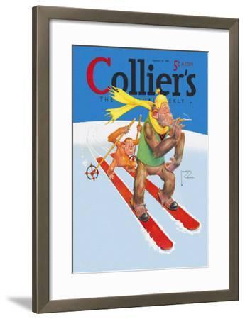 Skiing Monkeys-Lawson Wood-Framed Art Print