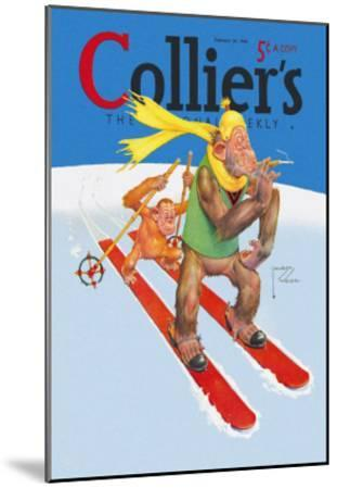 Skiing Monkeys-Lawson Wood-Mounted Art Print