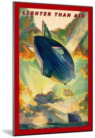 Lighter Than Air: Air Ship Traverses the Ocean--Mounted Art Print