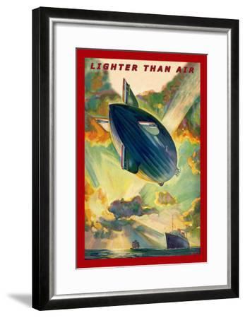 Lighter Than Air: Air Ship Traverses the Ocean--Framed Art Print