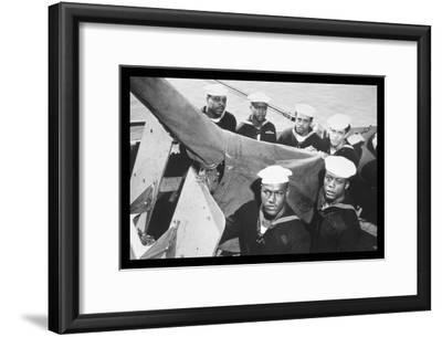 Guncrew Stands at Battle Station--Framed Art Print