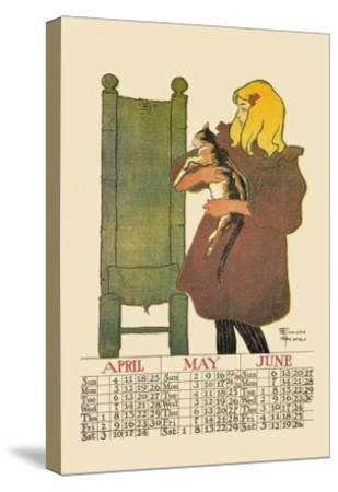 Girl with Cat-Edward Penfield-Stretched Canvas Print