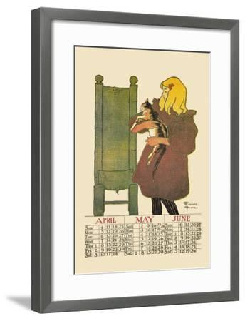 Girl with Cat-Edward Penfield-Framed Art Print